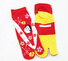 Ninja japonés de Algodón Calcetines Tabi Rojo/Amarillo Flip Flop Geta Geisha Unisex Senior