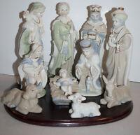 International Bazaar Nativity 10 Piece Porcelain Pastel w Wood Base & Box Creche