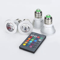 3W RGB 16 Color Change GU10 MR16 E27 E14  LED Spot Light Bulb Home Lamp + Remote