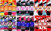6 Pairs New Ladies Womens Bright Coloured Design Socks Blend Designer Adults 4-7