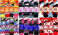 6 Pairs New Ladies Womens Bright Coloured Design Socks Blend Designer Adults 4-7