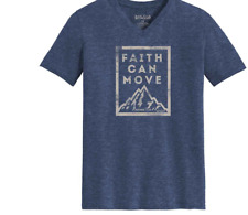 Kerusso Christian Cotton Blend Graphic Faith Can Move S/S V Neck Tee Shirt M