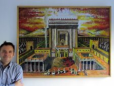 Original painting art jewish judaica temple Beit Hamikdash contemporary oil