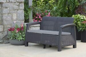 Corfu Resin Wicker Loveseat with Outdoor Cushions Patio Furniture Perfect