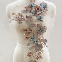 3D Crystal Blossom Lace Applique Embroidery Sequined lace Motif for Costumes