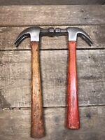 Pair of Vintage Plumb Claw Hammers 13 oz. and 16 oz. w/ Original Wood Handles