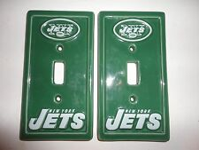 New York NY Jets Ceramic Switch Plate Cover Football Helmet Set of 2