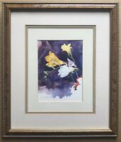 Original Irish Art Watercolour Painting Still Life Flowers By Gary McConnell