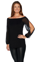 H by Halston Off the Shoulder VIP Ponte Top with Chiffon L/Sleeves Black Sz 14