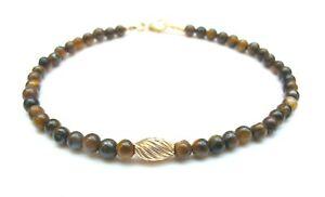 tiger eye round beads 14k gold bracelet natural round gemstone solid tube men