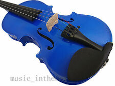 Promotion / Beautiful 1/2 Solid Wood Blue Violin+ Case+ Bow+ Rosin+ String Set