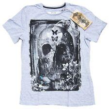 AMPLIFIED SAINTS & SINNERS Butterfly Flower Garden Skull Vintage T-Shirt S/M