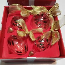 Gorham Festive Holly Berry Christmas Ornaments Painted Set of 4 Glass Crystal