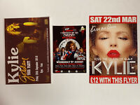 *KYLIE MINOGUE (NEIGHBOURS) 3 X UK CLUB NIGHT PROMO FLYER CARDS G-A-Y MINT*