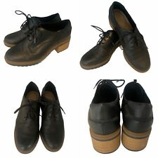 🌟Clarks Somerset Black Leather Brogue Lace up Oxford Shoes Size 5 39 Womens