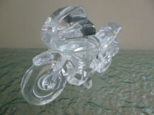 Vintage Crystal Glass Motorbike Motorcycle Desk Ornament