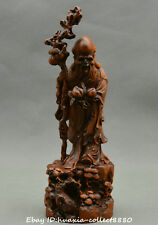 Collect Chinese boxwood wood hand carve god of longevity centenarian man Statue