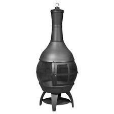More details for dellonda deluxe 360° chiminea/fire pit/outdoor heater - antique bronze finish