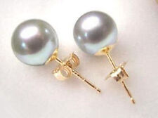 Wholesale Sea shell Grey Shell Pearl 10mm Gold plated Stud Earring AAA+