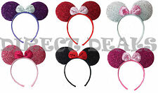 6 Pc Minnie Mouse Ears Shiny Mix Color Headband Party Favors Birthday Costume