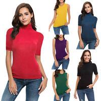 Women Summer Short Sleeve /Sleeveless High Turtleneck Tops Crew Shirts Tank Top