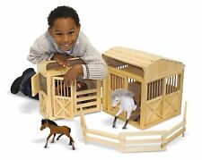 Play Horse Stable Pretend Kids Wooden Hayloft Paddock Playset Barn Boys Girls