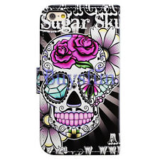 Bocov Purple Flower Sugar Skull Leather Wallet Cover Case For iPhone 7