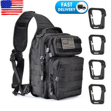 Men Tactical Sling Bag Pack Military Shoulder Backpack 4 Tactical D-Ring Clips