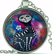 New Mexican Style Day of the Dead Cat Pendant Necklace Sugar Skull - Silver bf