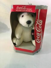 Coca Cola BRAND Plush Collection Polar Bear Holding Glass Coke Bottle 1993