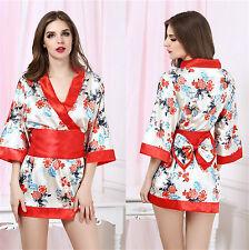 Costume Completo Fiori Rosso Kimono Giapponese Cosplay Cintura Japanese Sexy