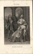 Stampa antica LESSING Emilia Galotti 1860 Old antique print Alte stich