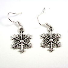 Christmas 2cm snowflake dangly drop earrings sterling silver hooks xmas winter