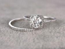 Engagement Ring Diamond Cluster Band 1.40ct Moissanite Round 925 Sterling Silver