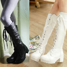 Wedge Lace Up Knee High Boots for Women