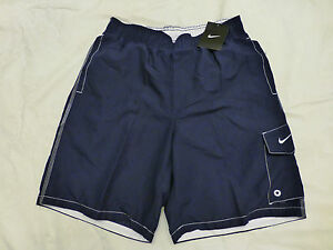 NWT MENS NIKE SWIM SHORTS TRUNKS NAVY/WHITE $40 TFSS0273