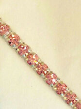 LIQUIDATION SALE 12YDS 1 Row Light Rose Rhinestone Banding Pink Ribbon Trim ss19