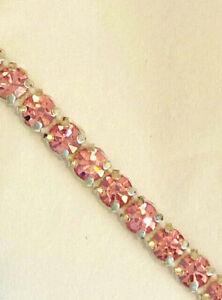 12 YARDS LIQUIDATION SALE 1 Row Light Rose Rhinestone Banding Pink Ribbon Trim