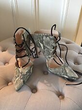 Topshop Ghillie High Heel Snake Print Lace Up Pointed Toe Shoes Heels Uk 5