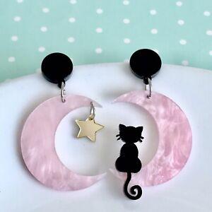Cute Cat Kitten Moon Fun Dangle Earrings Quirky Novelty