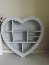 Heart Shape Wooden Decorative Wall Storage Display Shelf Unit - Grey 40 x 40 cm