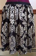 Women's Garnet Hill Black Gold Floral Scrolls Embroidery Skirt Silk Blend SZ 12