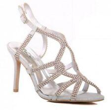 Unze Women Belaa Silver Crystal Encrusted Evening Sandals UK 4 EU 37 LN077 EE 08