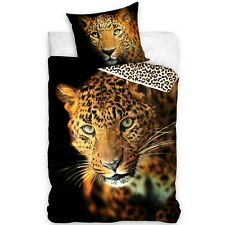 Leopardo Set 2pezzi Letto Singolo Copripiumino 140x200cm, Federa Biancheria