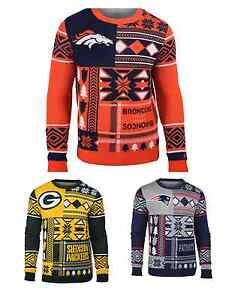 NFL Football Team Logo PATCHES Crew Neck Ugly Sweater - Pick Your Team!