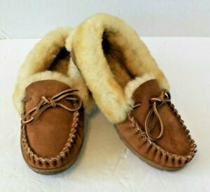 LL Bean Wicked Good Moccasins Brown Suede Shearling Lining Size 10 M