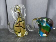 (2) Gca Glass Figurines Elephants Colorful art 10 inches each 7 pounds total Wow