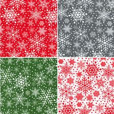 Polycotton Fabric Christmas Festive Snow Winter Snowflakes Xmas Snowing Flakes