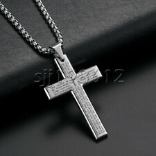 Men Silver Gold Stainless Steel Lord's Prayer Bible Cross Pendant Necklace Chain