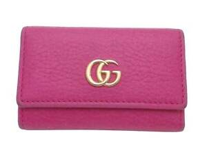 Auth Gucci GG Marmont 6-Rings Key Case Pink/Gold Leather/Goldtone - e49573